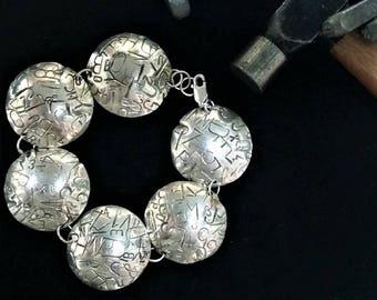 Dapped Hand Stamped Alphabet Bracelet Sterling Silver