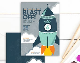Rocket Birthday Invitation - Space Birthday Invitation - Space Birthday Party - Rocket Birthday Party - Astronaut Birthday Party - Boy