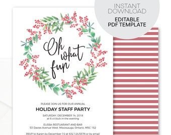 Holiday Party Invitation Template Etsy