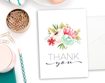 printable bridal shower thank you card instant download file floral bridal shower thank you card digital download thank you note