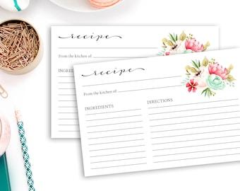 Floral Recipe Cards Printable Recipe Cards Bridal Shower Recipe Cards Bridal Shower Insert Card Invitation Insert Bridal Shower Keepsake