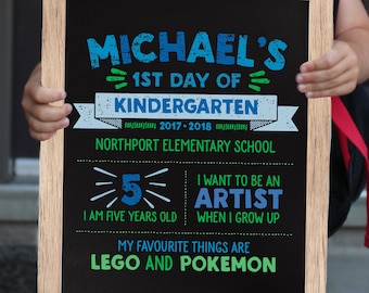 First Day of School Sign Printable File - Back to School Chalkboard Sign - First Day of Kindergarten Sign Photo Prop - Use for any Grade