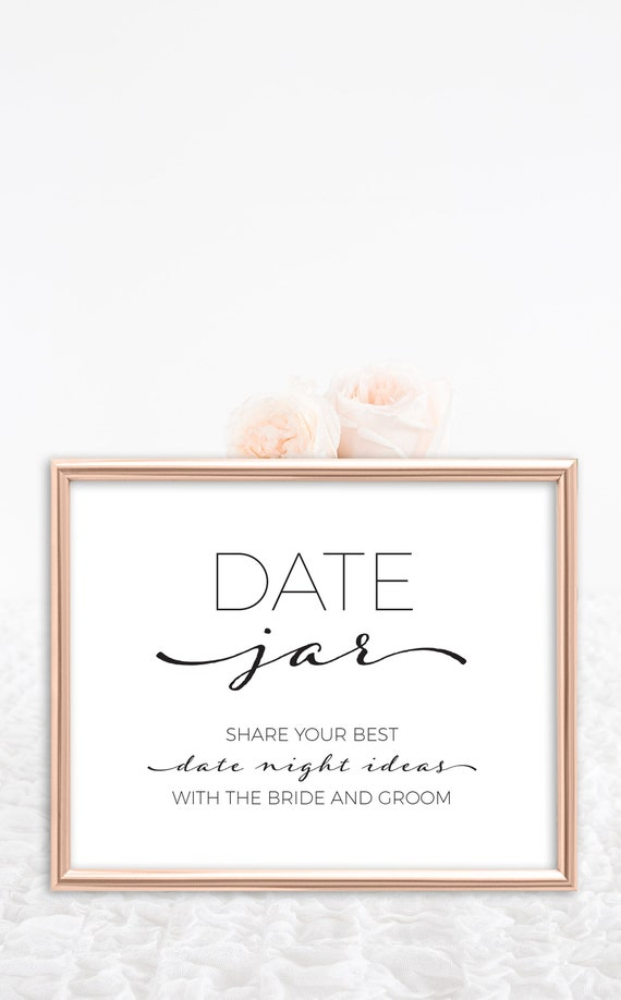 Date Jar Bridal Shower Sign For Date Night Ideas Printable Instant Download Digital File Black And White Bridal Shower Decorations By Arra Creative Catch My Party