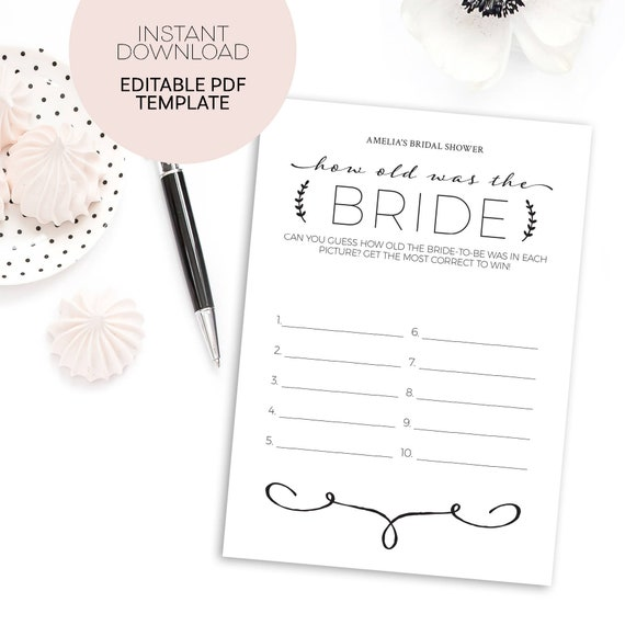 956ecac0b91d How Old Was the Bride to Be Bridal Shower Games Printable Instant Download  Template Personalized Wedding Shower Games Digital Download DIY