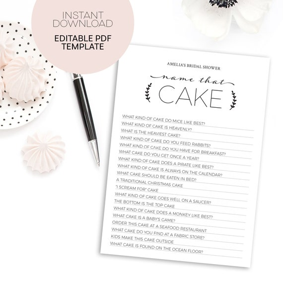 Name that cake bridal shower game template instant download il570xn maxwellsz