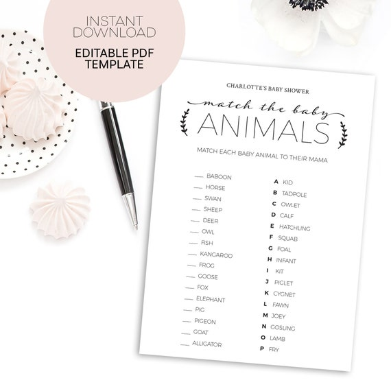 Baby Shower Games Printable Template Animal Matching Game Etsy