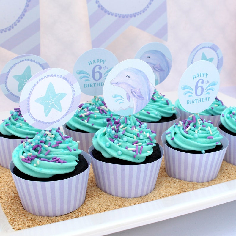 Dolphin Cupcake Toppers Under The Sea Party Decorations