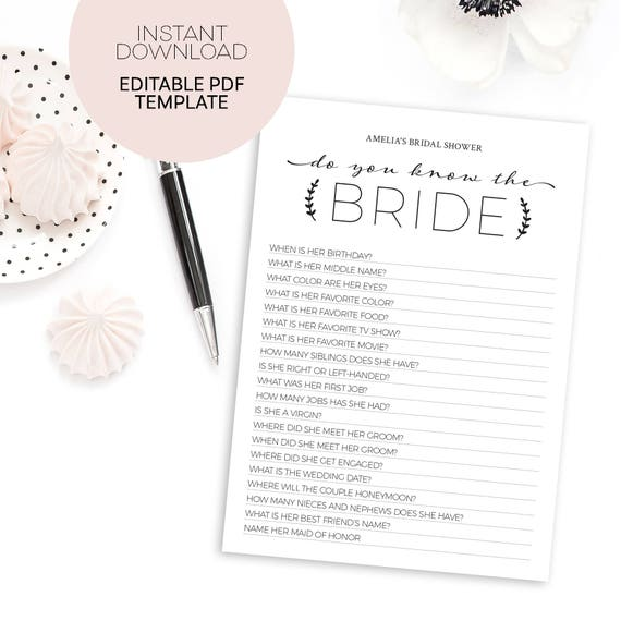 photograph about Free Printable Bridal Shower Games How Well Do You Know the Bride known as How Effectively Do By yourself Comprehend the Bride Recreation - Editable Template