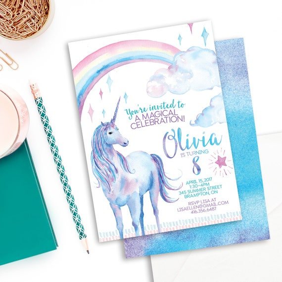 Unicorn Birthday Invitation Printable File Personalized