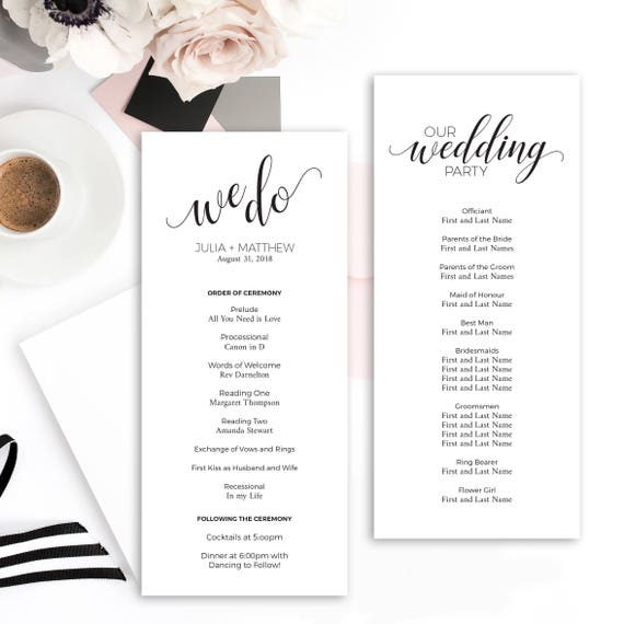 black and white wedding program template instant download printable