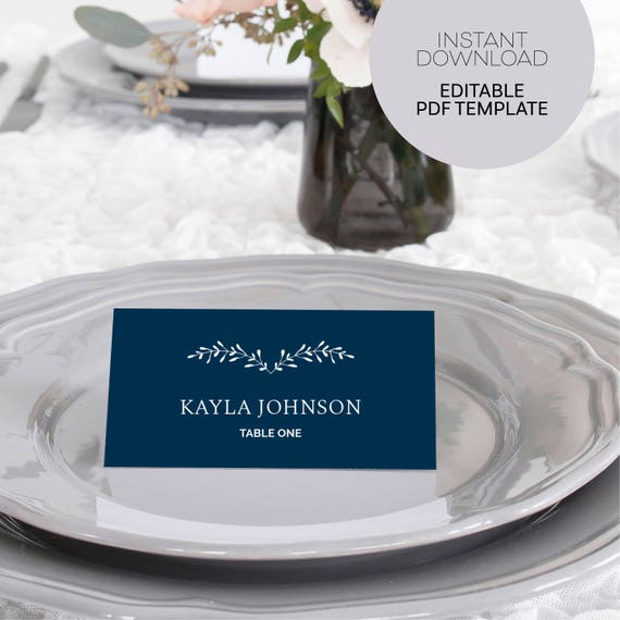 Navy Wedding Place Cards Instant Download File Printable Wedding