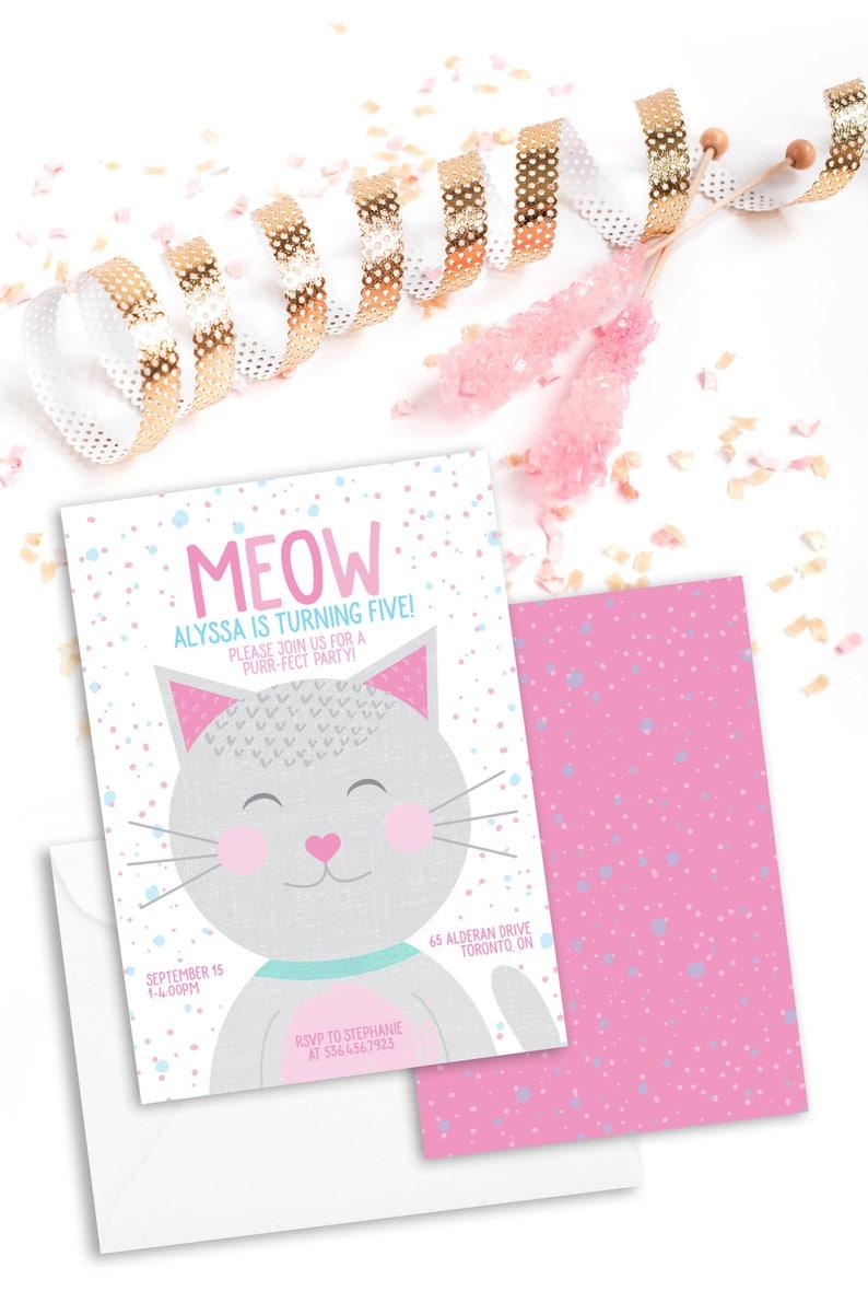 Kitty Birthday Invitation Printable Cat