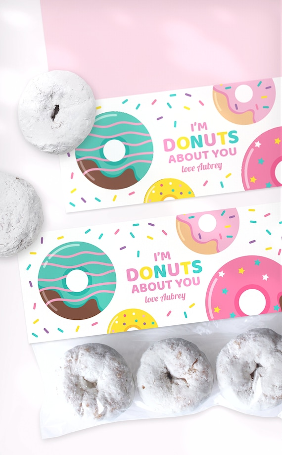 Treat Bag Toppers Donut Treat Bag Toppers Valentines Treat Bag Toppers