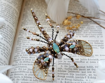 Insect jewelry, Mosquito brooch, Dragonfly jewelry, Crane fly, Dragonfly brooch, Insect brooch, Statement jewelry, Insect art