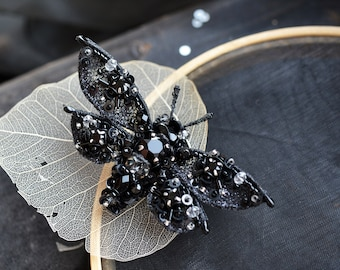 Moth brooch, Insect brooch, Unique jewelry, Butterfly brooch, Black brooch, Black pin, Insect jewelry, Insect art, Bead work