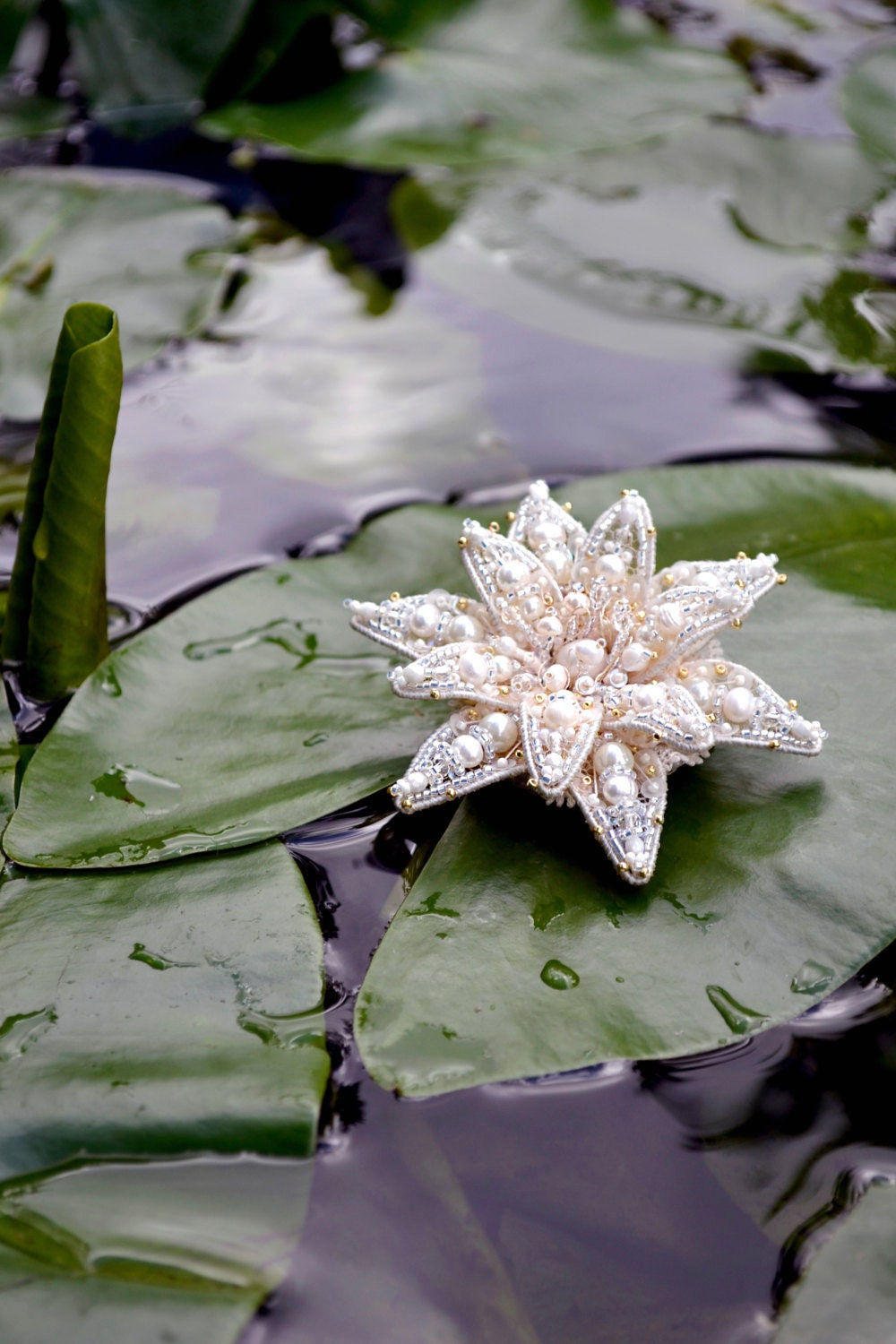 Lotus Flower Flower Brooch Bridal Brooch Lotus Brooch Anniversary