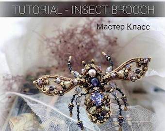 Brooch tutorial, embroidery tutorial, beading tutorial, bead work, jewelry tutorial, hand embroidery, Insect jewelry, master class in PDF