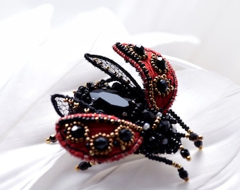 Ladybug brooch Insect jewelry Mothers Day Gift red black Ladybird brooch Bead jewelry Lady Cow pin Good luck gift Gift for Mom Birthday gift