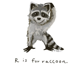 R is for Raccoon Print