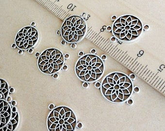 6 Dream catcher connector charms antique bronze tone BC253
