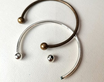 50pcs Brass European Torque Cuff Bangle Blanks w// Screw Ball End Silver 70x3mm
