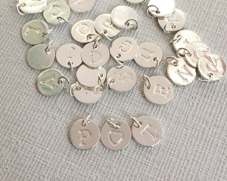 10mm round Letters charm Plated Silver Tiny Letters Silver image 0