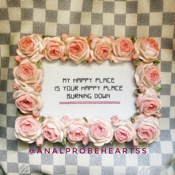 READY to ship - Happy place (with flower frame)