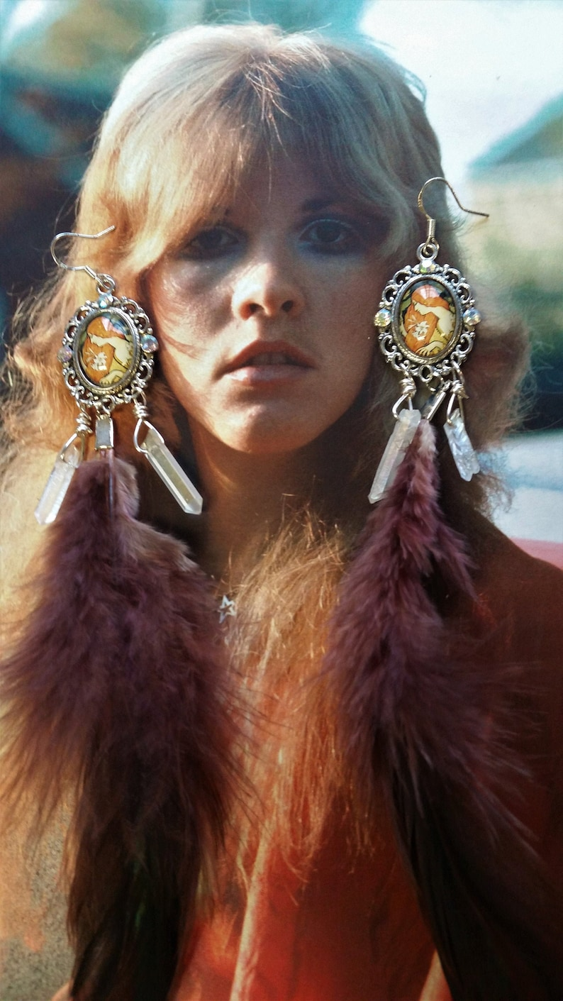 Mucha Seasons~real long feather earrings,raw quartz gemstone,Victorian Edwardian Art nouveau Fairy earring,Gypsy Chandelier,Festival Hippie