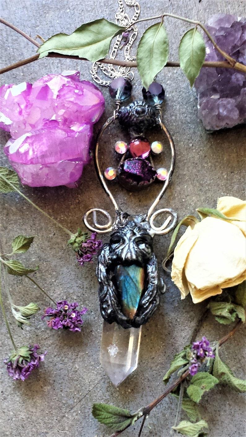Gothic Enchanting Labradorite Talisman Wand Necklace,Soldered Quartz Crystal Stone Pendantboho gypsy stoneTribalWitchy Goddess necklace