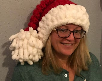 46b836ce80ff0 Super chunky jumbo spiral stitch crochet Santa hat with chenille brim and  oversized pom