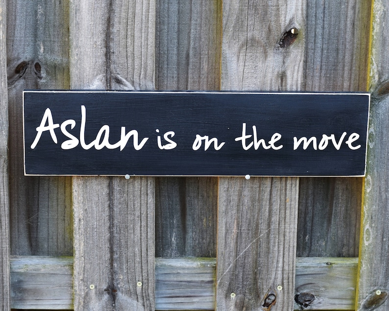 Aslan is on the Move  22 x 5.5  Wooden Sign Wood image 0