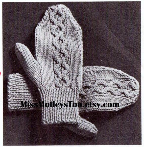 Mitten Knitting Pattern 2 Needle Cable Style Immediate Etsy