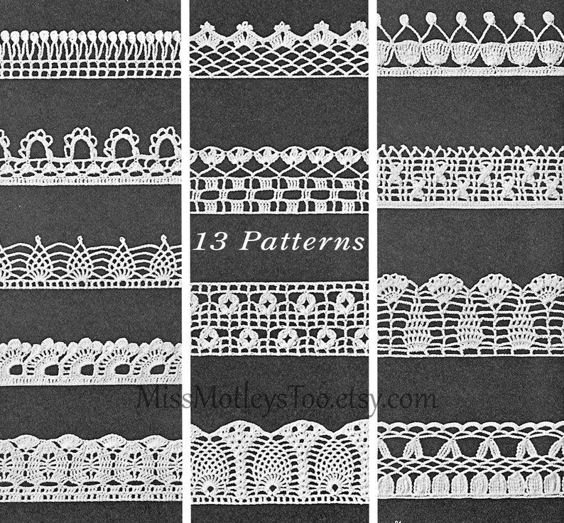Crochet Lace Edge Patterns 13 Pieces Trim Immediate Download Etsy