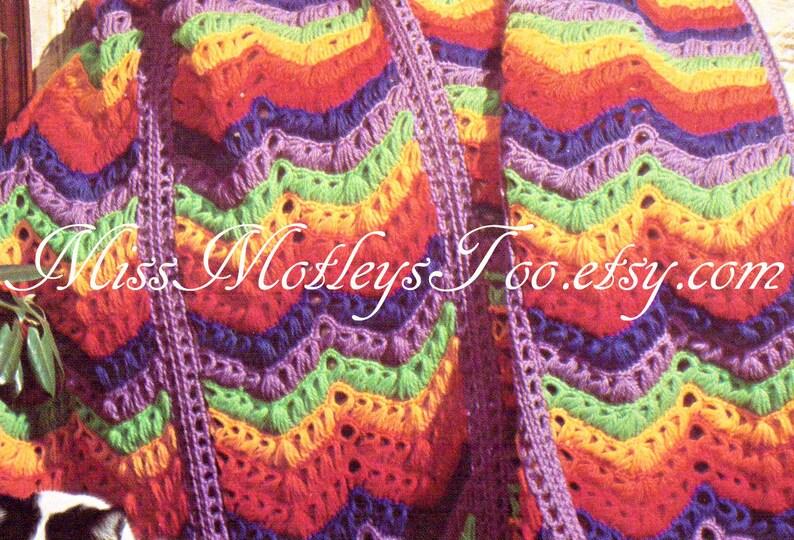 Broomstick Lace Crochet Pattern Chevron Rainbow Afghan Blanket Etsy