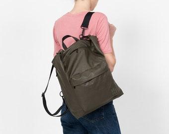 Small Khaki Green Diaper Bag, Diaper bag Backpack, Baby nappy bag, Stroller bag,convertible backpack, Hobo bag,Changing bag, Laptop backpack