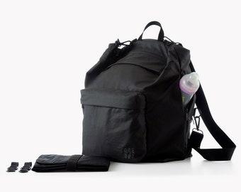 Black diaper bag, Backpack diaper bag,  Laptop Nylon backpack, Baby bag backpack, Convertible backpack, Stroller bag, Nappy bag,