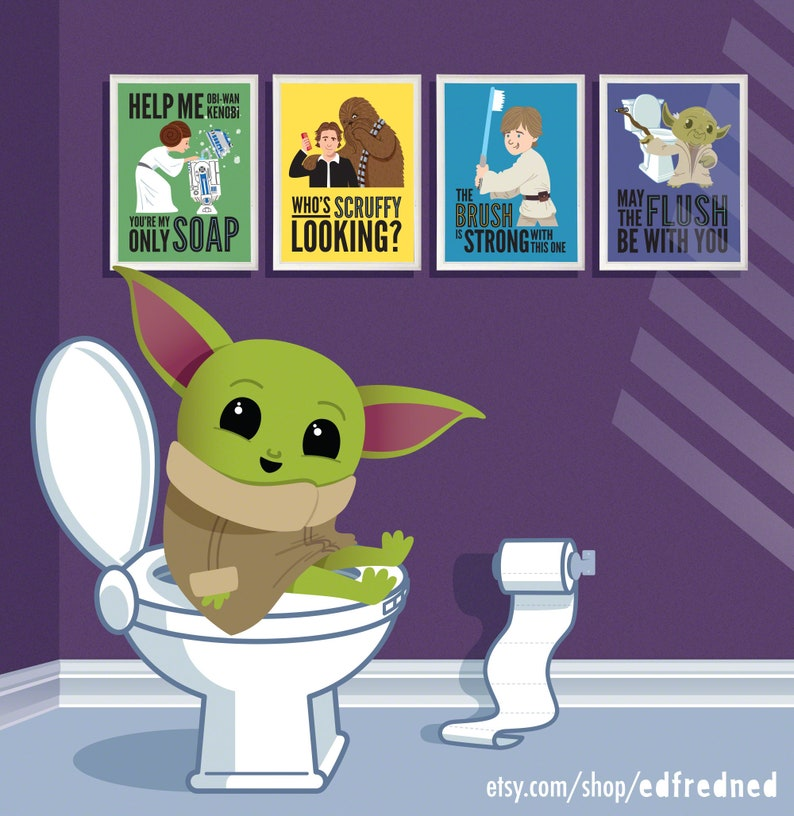 Star Wars Kids Bathroom Prints bathroom rules print set image 0
