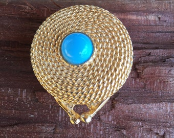 Vintage, Estee Lauder, Perfume Compact, Turquoise , Gold Tone Rope Detail, solid perfume, vintage vanity, purse compact