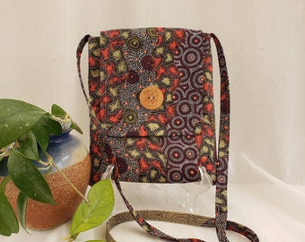 "Crossbody cotton fabric bag, Burgandy, moss & tan / Australian art - wild seeds and waterhole, 2 inside pockets, button closure, 51"" strap"