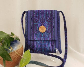 """Crossbody cotton fabric bag, purples and blues,  2 inside pockets, button closure, 51"""" strap"""