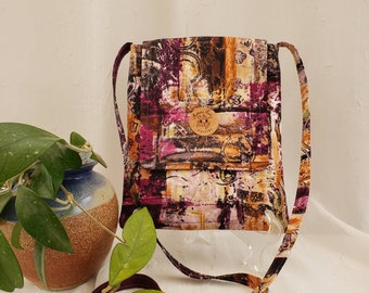 """Crossbody cotton fabric bag, Layered splashes of color with plum color lining, 2 inside pockets, button closure, 51"""" strap"""