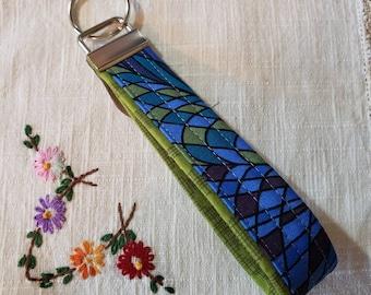 Key Fob - blue/green modern paisley, neon green accent