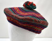392bd20907b Vintage Wool Beret - Bright Red Blue Green Yellow Hat - Jaeger Great Britain