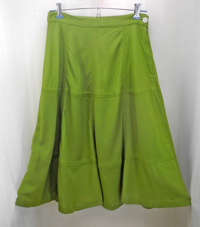 Vintage Lime Green A-Line Skirt Fitted Waistband Raised Topstitching