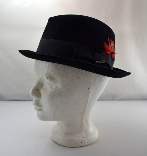 e967574a1c Vintage Stetson Hat - Black Genuine Fur Felt Fedora - Union Made - Men's  Size 7