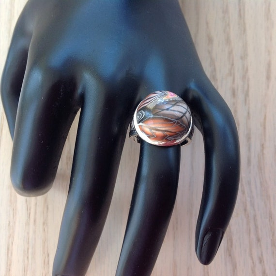 Handmade Silver and Clay Ring Size 6