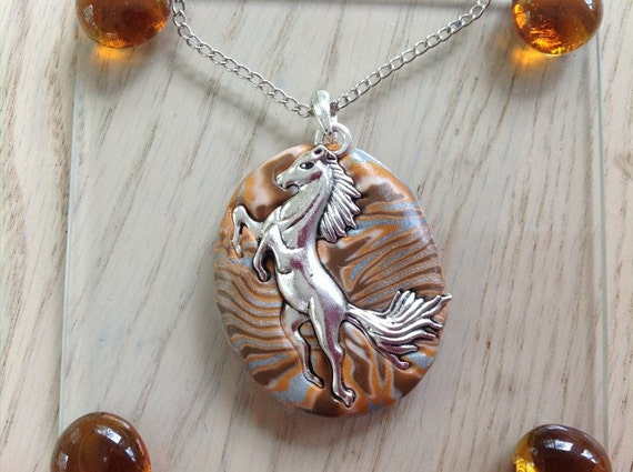 Antique Silver Plate Horse on Polymer Clay Pendant