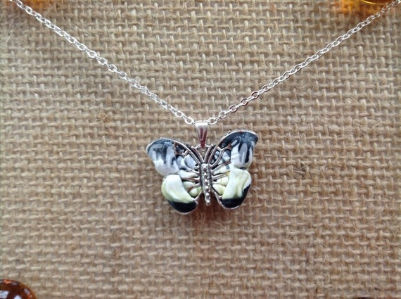 Handmade Silver with Black White and Yellow Clay Butterfly