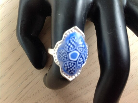 Handmade Silver and Clay Ring Blue and white Size 7