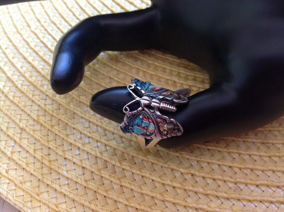 Handmade Sterling Silver and Polymer Clay Butterfly Ring Size 8